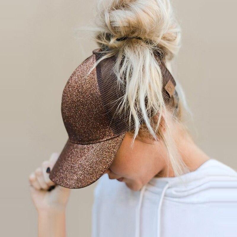 Drop Shipping CC Glitter Ponytail Baseball Cap Women Messy Bun Baseball Cap Girls Snapback Caps Summer Sports Mesh Hats