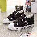 YGF Ocultos Tacones de Cuña Plataforma de Lona Zapatos de Las Mujeres Aumento de la Altura Casual Zapatos de Lona de Las Mujeres de Color Sólido con cordones Zapatos planos