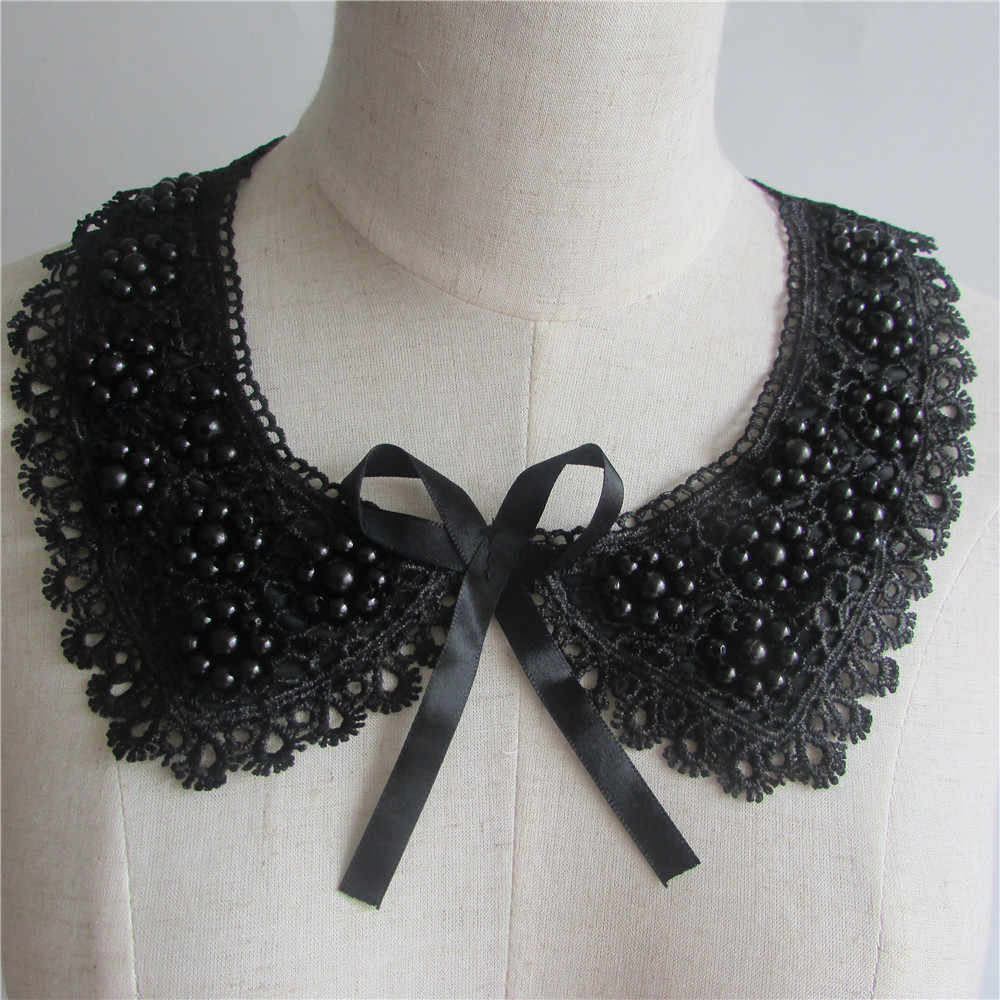 1pcs sell black Lace Collar Pearl Rhinestone Neckline Lace Applique Neckline Applique Trim lace fabric sewing supplies YL23