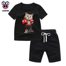 Kid's Boxing Cat Cartoon Clothes Girl Cartoon Clothing Set Children Son Goku T-s