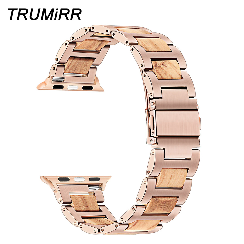 Nature Wood & Stainless Steel Watchband for iWatch Apple Watch 4 3 2 1 44/42/40/38mm Band Wrist Strap Bracelet Rose Gold Black