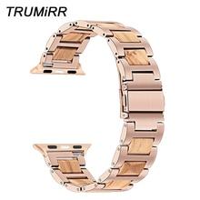 Nature Wood & acero inoxidable Correa de reloj para iWatch, correa de reloj para Apple Watch 5 4 3 2 1 44/42/40/38mm, pulsera de oro rosa negro