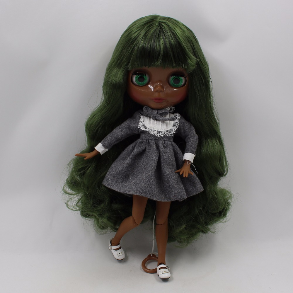 Neo Blythe Doll with Green Hair, Black skin, Shiny Face & Jointed Body 3