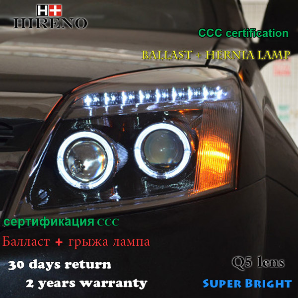 Hireno Headlamp for 2005-2010 Great Wall Haval H3 Headlight Assembly LED DRL Angel Lens Double Beam HID Xenon 2pcs hireno headlamp for mercedes benz w163 ml320 ml280 ml350 ml430 headlight assembly led drl angel lens double beam hid xenon 2pcs