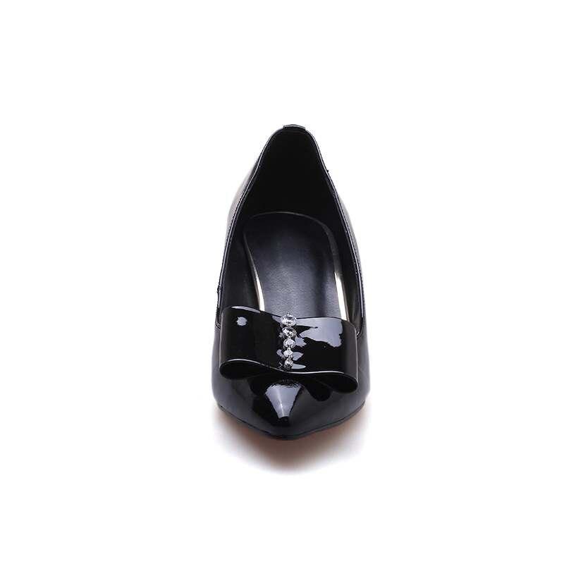 En Dulce nudo Mujeres Estrecha L9f5 vino Bombas 2018 Elegante Deslizamiento Madura Vaca Mariposa Punta Superficiales Tinto Nueva Oficinista De Cuero Llegada Zapatos Negro S6wqxxgZ
