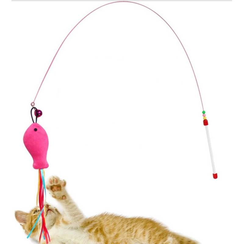 2018 New Cat Toys Funny Cat Kitten Pet Teaser Feather Wire Chaser Pet Toy Wand Beads Play New Design Cat Toys For Pet