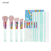 Docolor New 10PCS Makeup Brushes Set Light Green Transparent Handles With Colorful Bristle Make Up Brushes
