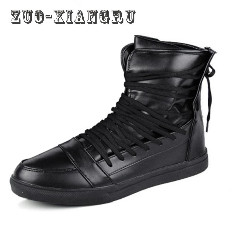 New Ankle Lace Up  Zip Men Boots White Red Black Flats Male Casual Shoes Student Pu Leather Boots Hook & Loop Board Shoes 2016 new genuine leather ankle boots men flats shoes lace up casual outdoor shoes men oxford shoes autumn boots