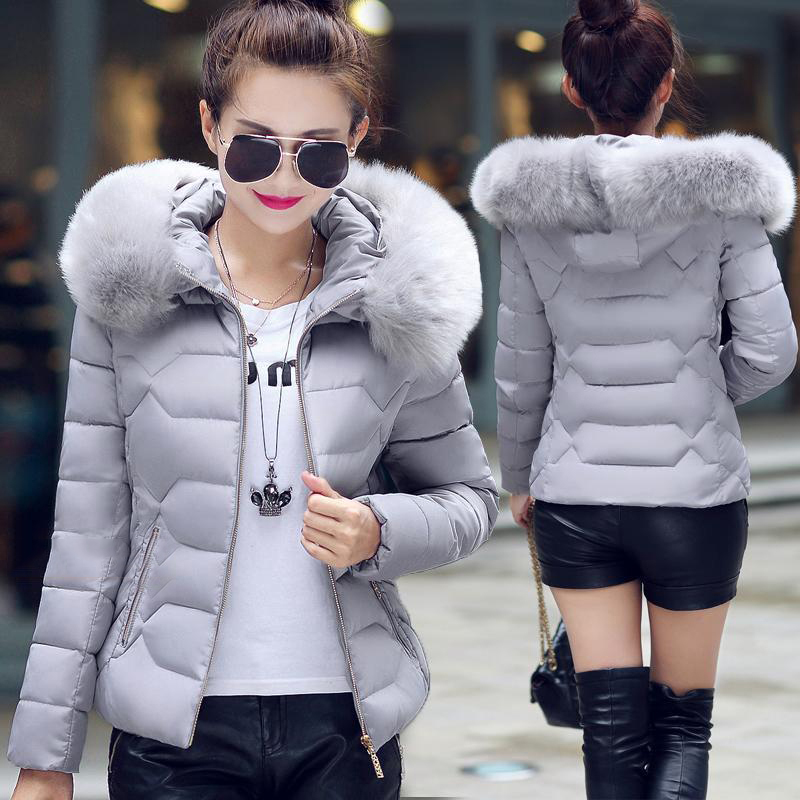 Hooded Warm Winter Women Short Coats Ladies Jacket Light Female Casual Fashion Zip Coat Cotton Fur Womans   Parkas   Outwear FWT4583