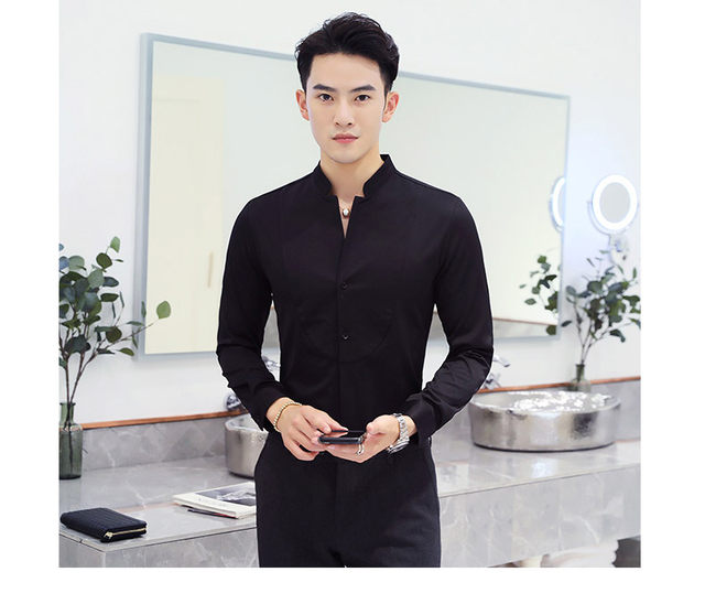 Fall Winter Stand Collar Mens Long-sleeved Dress Shirts Black Red White Slim Elegant Youth Male Business Wedding Formal Shirt 30