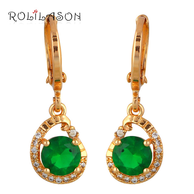 Rolilason Brand Design Peridot Dangle Earrings For Women Gold Tone Green Crystal Fashion Jewelry Drop
