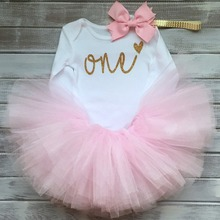 Toddler Baby Girl 1st First Birthday Outfits Dress Infant Party Tutu Fluffy Kids Winter Clothes Girl 1 Year Princess Pink Dress