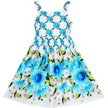 Sunny Fashion Girls Dress Sleeveless Halter Blue Sunflower Party Princess Cotton 2018 Summer Wedding Dresses Clothes Size 4-10