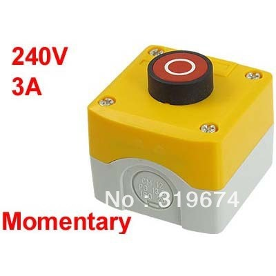 Plastic Shell SPST Momentary Circle Red Flat Push Button Switch 240V 3A