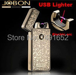 2014 New arrival ZB windproof ultra thin metal electric arc pulse usb lighters Rechargeable Flameless electronic