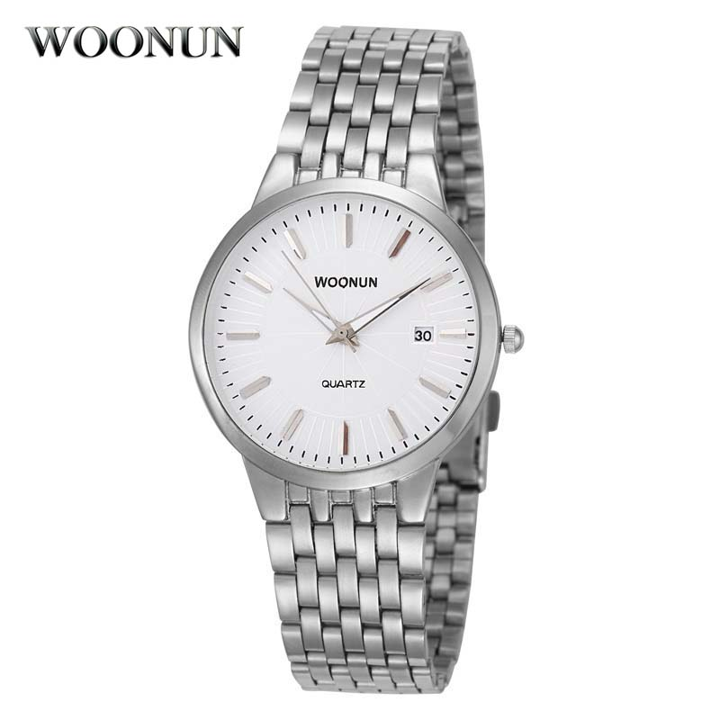 WOONUN Top Brand Luxury Watches Men Waterproof Shockproof  Silver Steel Quartz Men Watches Ultra Thin Wrist Watches For Men WOONUN Top Brand Luxury Watches Men Waterproof Shockproof  Silver Steel Quartz Men Watches Ultra Thin Wrist Watches For Men