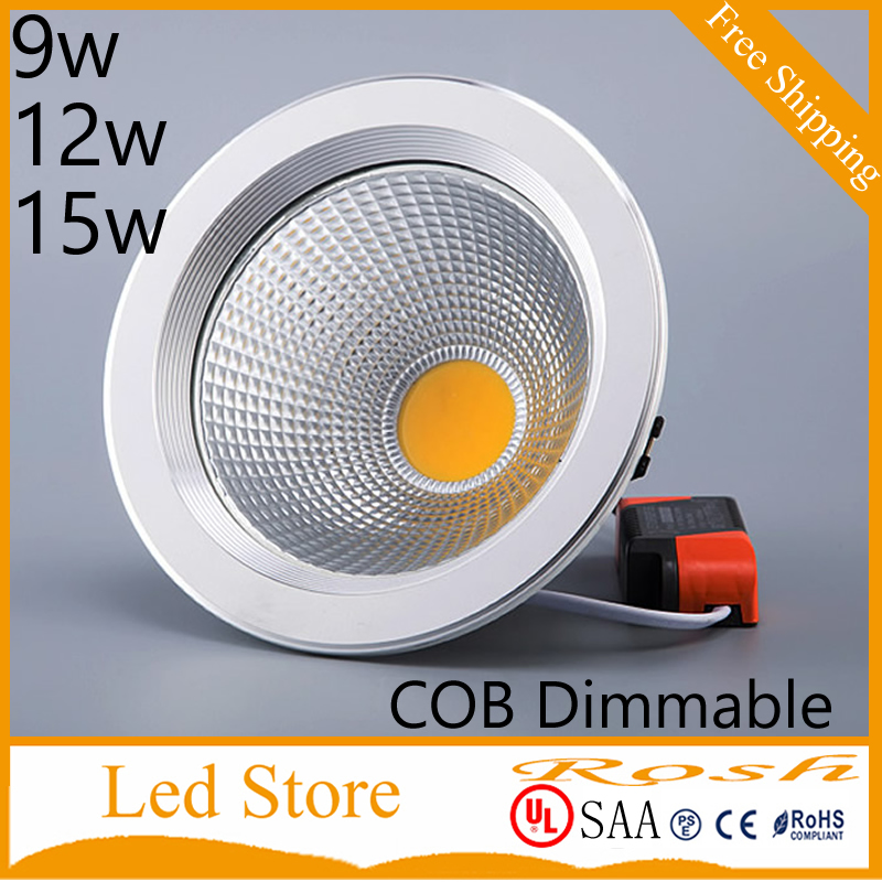 Hot sale 9w 12w 15w cob led downlight dimmable recessed lamp home led epistar spot 110v 220v  Warm White 3000K + Drivers