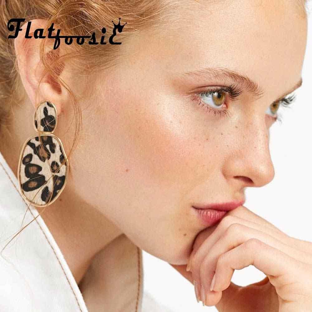 Flatfoosie Za Geometric Round Square Drop Earrings Fashion Party Women Leopard Print Long Dangle Earrings Bamboo Maxi Jewelry