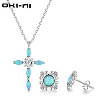 OKI NI Hot New Sterling 925 silver jewelry Sets & More Opal Necklace & EarringsSet With Pendant Gift set For Women TZ XLYJM 87