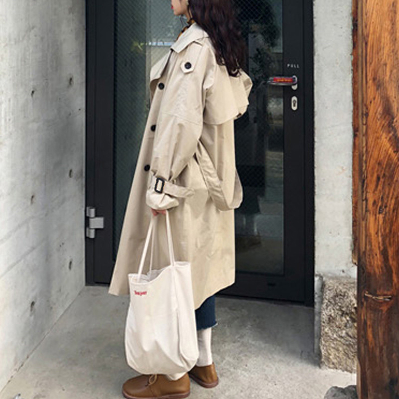 Abrigos printemps automne 2018 mode coréenne Double boutonnage mi-long Trench Coat Mujer lâche ceinture grande taille coupe-vent Outwear - 4