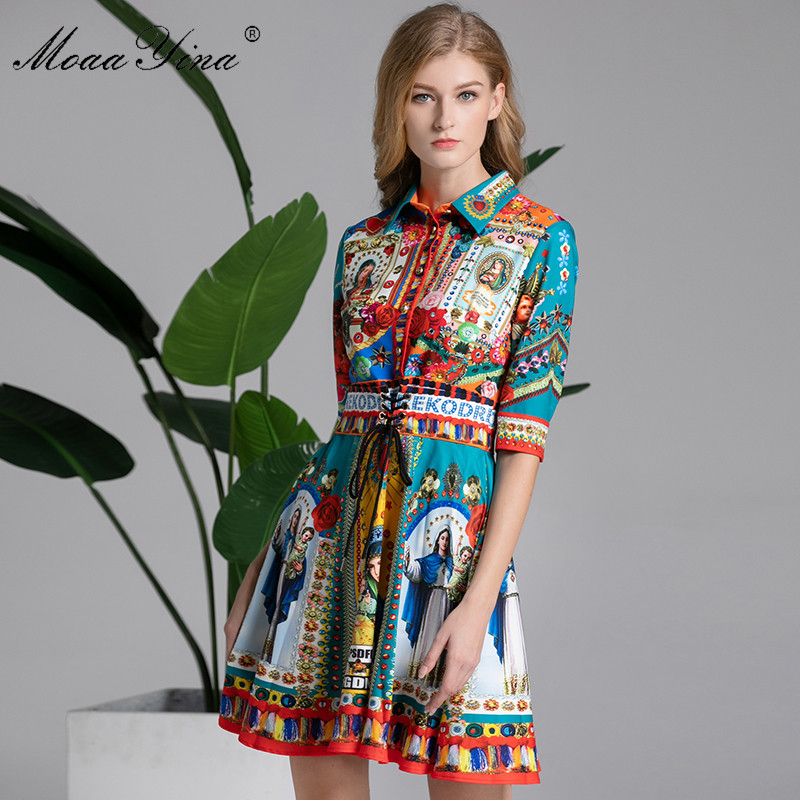 MoaaYina Fashion Designer Runway Dress Summer Women Turn down Collar Half sleeveVintage Floral Print Slim Lace