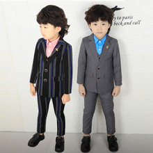 3PCS Kids Gray Wedding Blazer Suit Boys Winter Striped Clothing Set Flower Boys Party Tuxedos Children Spring Suits 2019 boy blazer suits 3pcs jacket vest pants kids wedding suit flower boys formal tuxedos school suit kids spring clothing set