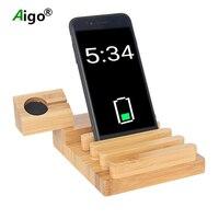 Aigo Mobil Telefonu Şarj Standı Tutucu Bambu Ahşap Şarj Tabanı Çok Fonksiyonlu Şarj Destek Masaüstü Braketi Araç Tutucu