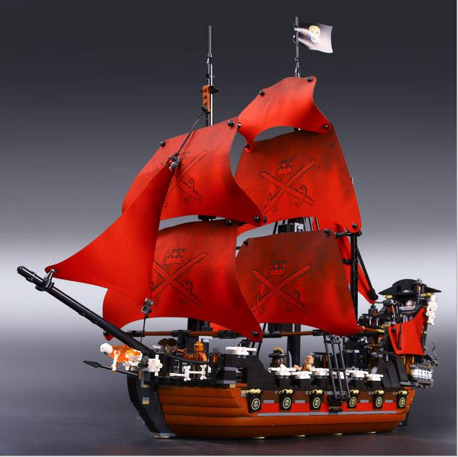 lepin blocks 16009 1151Pcs Pirates Of The Caribbean Queen Anne's Reveage Model Building Kits Blocks Bricks Toys For Children dhl lepin 22001 imperial warships 16009 queen anne s revenge model building blocks for children pirates toys clone 10210 4195