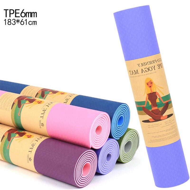 6 MM TPE tapis de Yoga antidérapant sport Gym Pilates tapis Double couleur musculation Fitness équipement d'exercice pour les débutants 183*61 cm