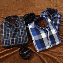 Langmeng 2016 casual shirt winter warm long sleeve shirts with thick velvet mens brand quality dress shirts male plaid shirts