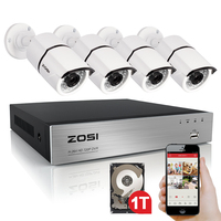 ZOSI High Quality 1080P HD Outdoor Security Camera System 1080P HDMI CCTV Video Surveillance 4CH DVR