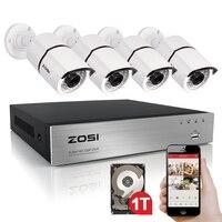 ZOSI высокое качество 1080P HD наружная камера безопасности Система 1080P HDMI видеонаблюдения 4CH DVR комплект 1 ТБ HDD TVI камера комплект