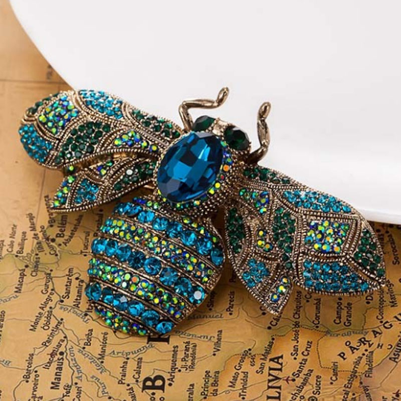zlxgirl Big Size Bee Brocher Smykker Vintage Broaches Women Party Anniversary Smykker Rhinestone Pin Brooch Hijab Tilbehør