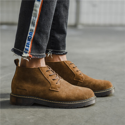 Spring And Autumn Vintage Round Tendon Bottom Thickening Increased Matte Leather Period Casual Big Head Shoes Men High Help