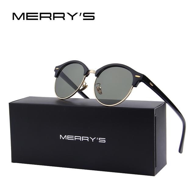 Merry's moda metade quadro óculos de sol das mulheres de design da marca vintage rebite unisex óculos de sol dos homens de alta qualidade eyewear oculos s'8054