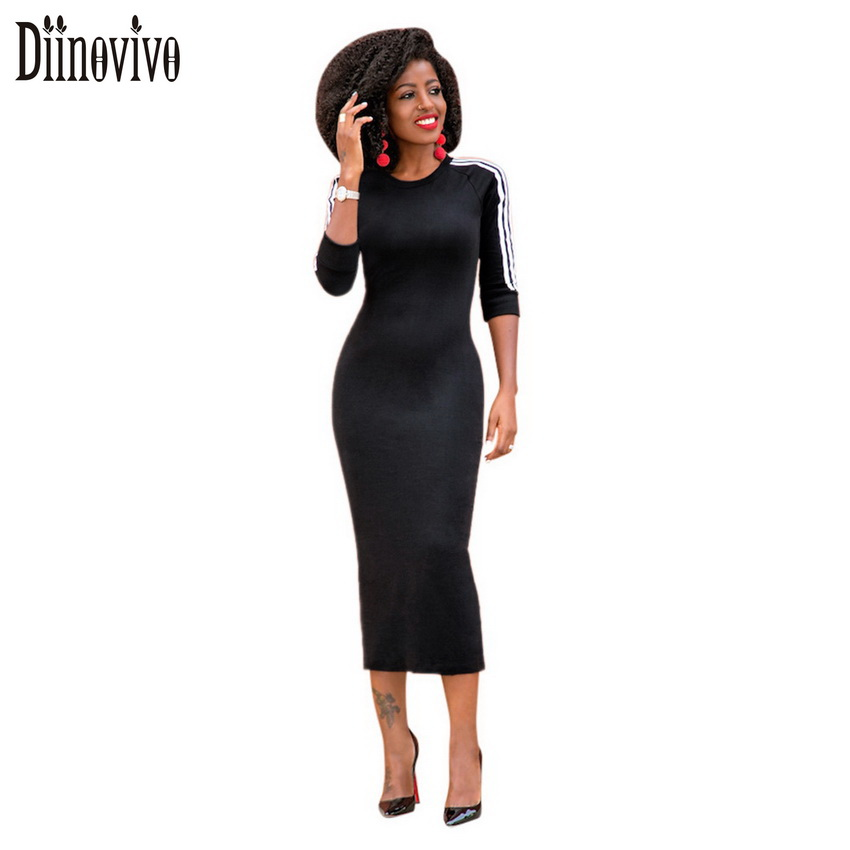 New Autumn Sexy Slim Women Bandage Dresses 2017 European style O Neck White Striped Half Sleeve Casual Dress Female Vestido D242