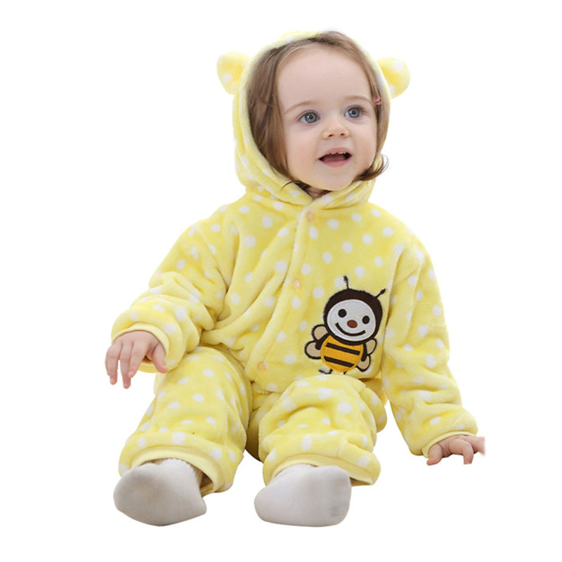 Soft Coral Fleece Baby Jumpsuit Autumn Spring Cartoon Dot Newborn Romper Hooded Toddler Baby Clothes autumn baby clothes flannel baby boys clothes newborn fleece animal girls jumpsuit hooded toddler cute bear romper baby costumes