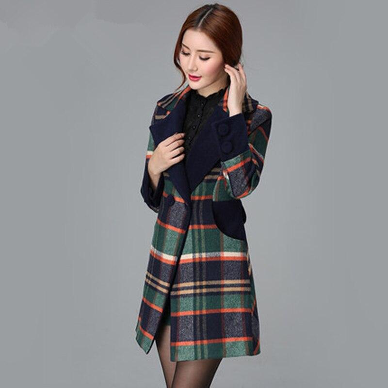 Winter Neue Frauen Büro Stil Woolen Tuch Mantel Plaid Damen Mantel 2019 Plus Größe Jacke Schlank Wolle Warme Weibliche Parka LXT717-in Wolle & Mischungen aus Damenbekleidung bei  Gruppe 2
