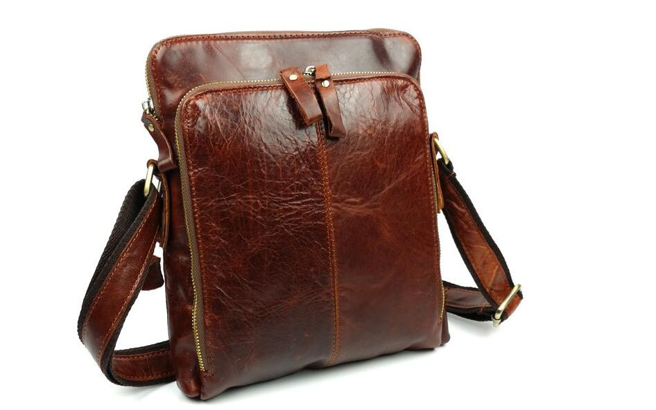 Genuine leather male messenger bag first layer cowhide leather man shoulder bag one shoulder cross body bag casual business bag hot selling crazy horse leather man bag vintage casual first layer of cowhide handbag one shoulder cross body computer bag 0201