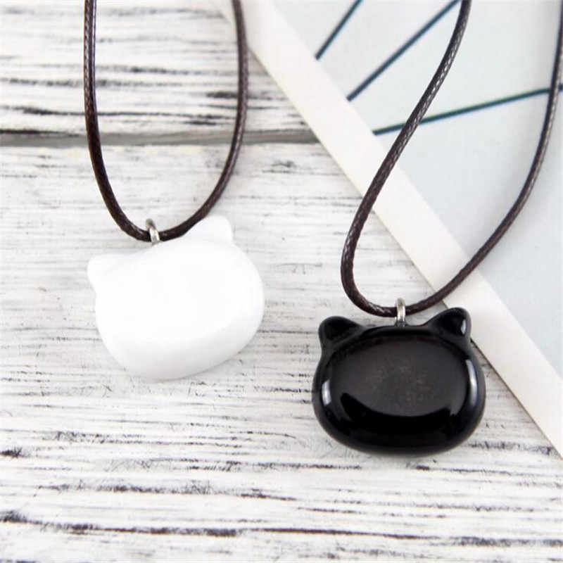 Trendy Love White Black Cat Pendant Necklace For Women Summer Style Wax Rope Chain Fashion Kitty Charm Necklaces Couple Jewelry
