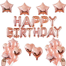 hot deal buy rose gold wedding birthday party balloons happy birthday letter foil balloon baby shower anniversary event party decor supplies