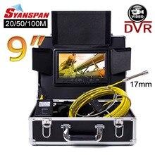 SYANSPAN 20/50/100 м внутритрубный инспекционный прибор видео Камера, 8 Гб TF карты DVR IP68 Слива канализационных труб промышленный эндоскоп с 9