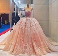 New Luxury Long Wedding Dress 2017 Scoop Neck Cap Sleeve Ball Gown Chapel Train Applications Wedding Dresses Robe de mariage