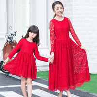 mother daughter long Lace cotton bohemian dresses matching mother daughter clothes dress Family look mother daughter outfits