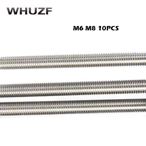 10Pcs M6/8mm x 25mm-100mm 304 Stainless Steel Fully Threaded Rod Bar Studs Silver Tone Bolts Fasteners Hardware Home Improvement