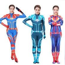 Captain Marvel Cosplay Ms. Carol Danvers Costume Film Jumpsuit Comics Heroine Halloween Women Adult Without Mask