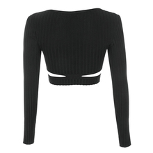 Long Sleeve Black Ribbed Bandage Cut Out Cotton T-shirt