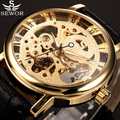 2017 new hot sale skeleton hollow fashion mechanical hand wind men luxury male business leather strap Wrist Watch Gift Relogio