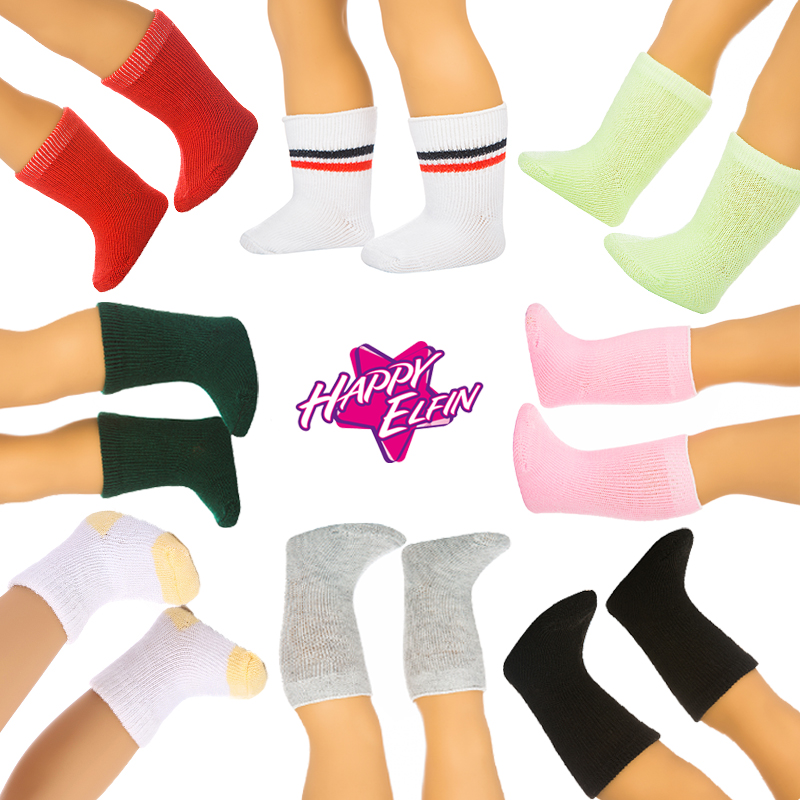 Doll Socks 4 Pairs Fit Doll Clothes More American girl Doll Zapf Baby born 4 Colors sock shoes One size doll accessories 7days suit colors clothes zapf baby born doll clothes doll accessories 17in american girl doll shoes fashion doll children gift