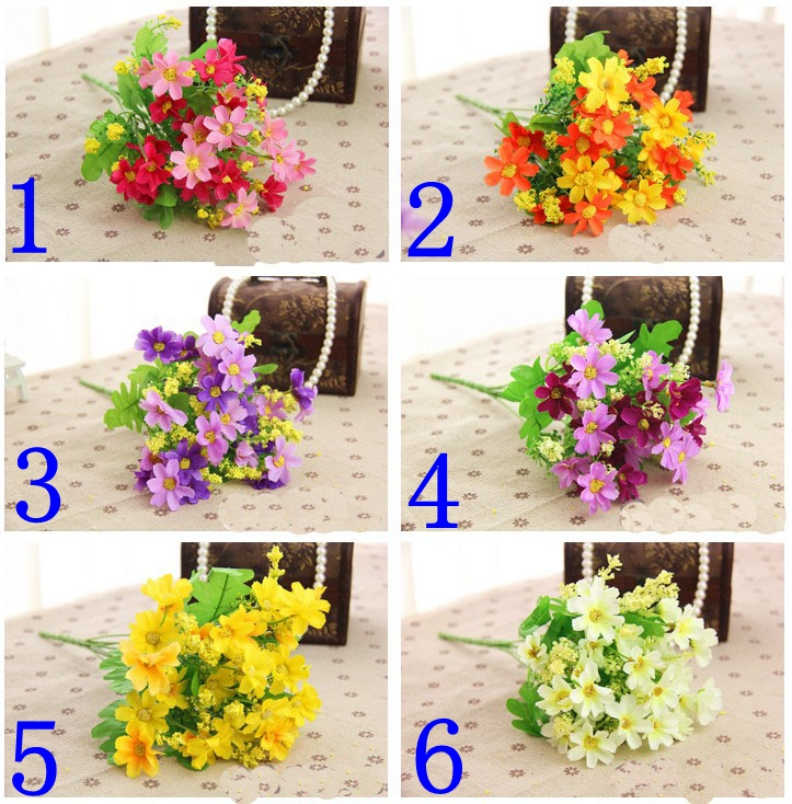 (6beam/set)6color optional simulation flower Elegant Beautiful Artificial flower Suitable for wedding,home decoration,party 101